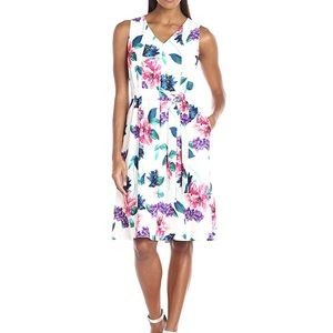 Ellen Tracy Seamed V-Neck Floral Print Dress